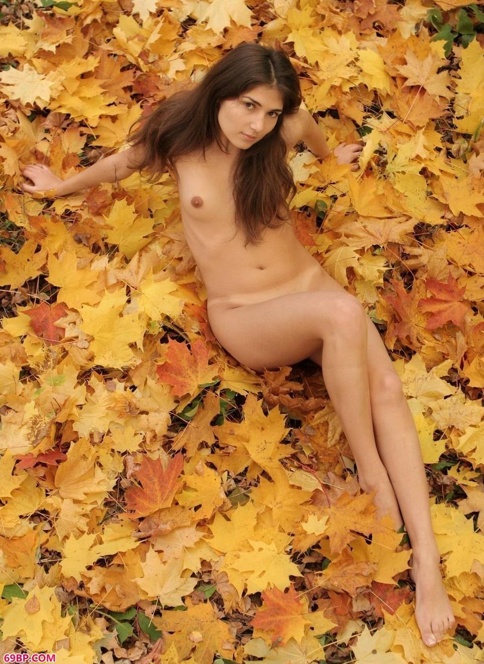 少妇美女极品美�N人人体_嫩模Elvira枫叶堆上的性感人体
